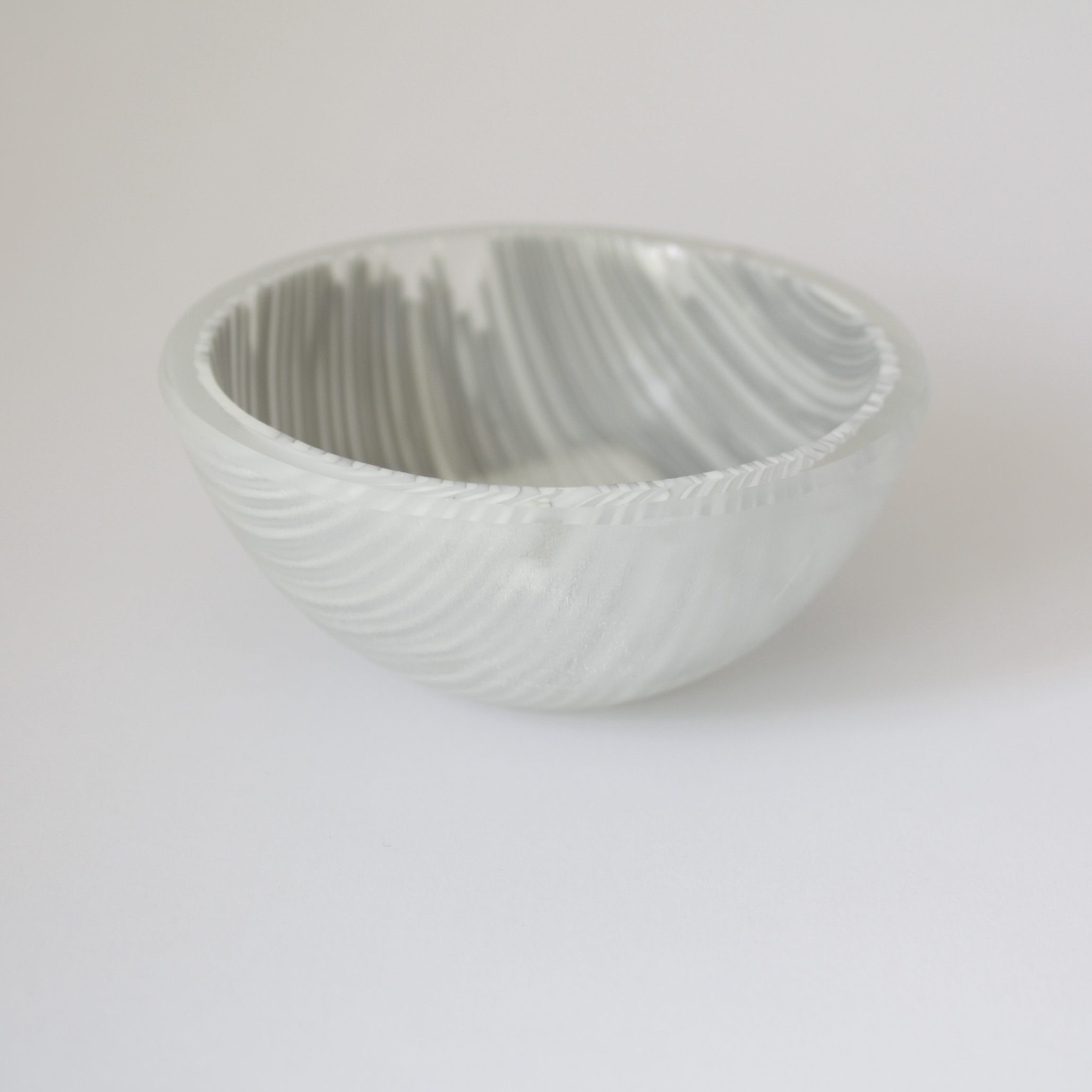 grey and white striped fused glass trinket bowl by Bridget Marchi